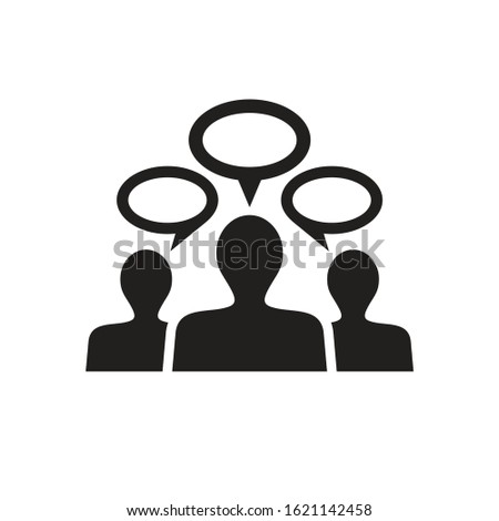 People communicate black icon design. Socila media communication. Business teamwork concept sign. Discussion symbol. Message talk chat dialog. Vector illustration.