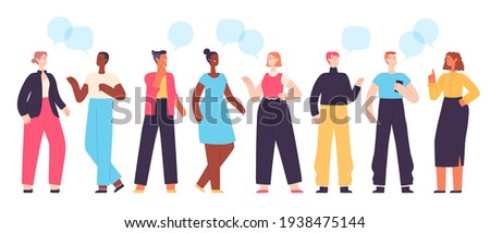 People communicate. Diverse character group chatting and talking. Flat students with dialogue speech bubbles. Social conversation vector set