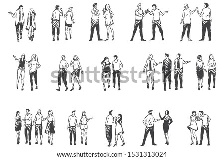 People communicating and walking outside concept sketch. Hand drawn isolated vector