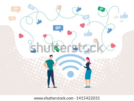 People Communicating in Social Network, Wireless Public Internet Access Point Flat Vector Concept with Man and Woman Standing near Wi-Fi Sign, Talking, Messaging, Sharing Opinions Online Illustration.
