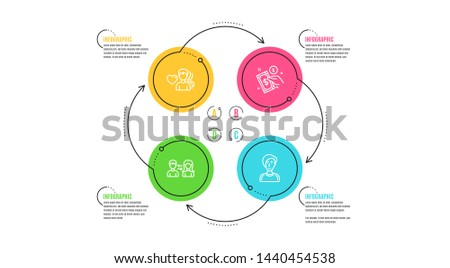 People communication, Payment method and Man love icons simple set. Infographic timeline. Businesswoman person sign. People talking, Give money, Female user. People set. Cycle infographic. Vector