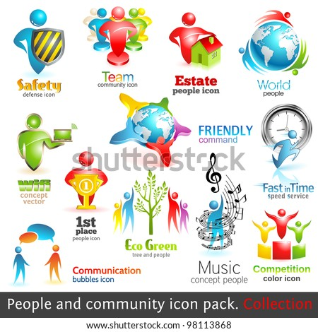 people community 3d icons