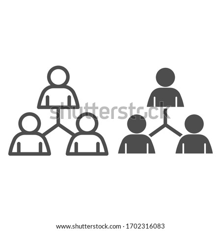 People community network line and solid icon. Group of three people connection lines outline style pictogram on white background. Teamwork logo for mobile concept and web design. Vector graphics Foto stock ©