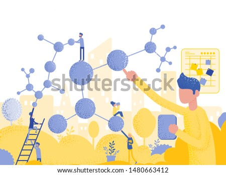 People conducts laboratory studies and studies the statistical data of the results. compound malekul and atoms. modern technology machine learning.