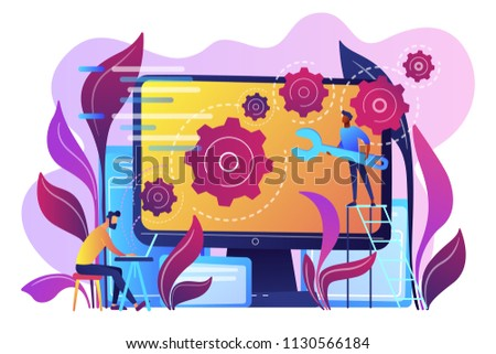 People configure the application on the big LCD screen with gears. Back end development it concept. Software development process. Violet palette. Vector back-end concept illustration white background