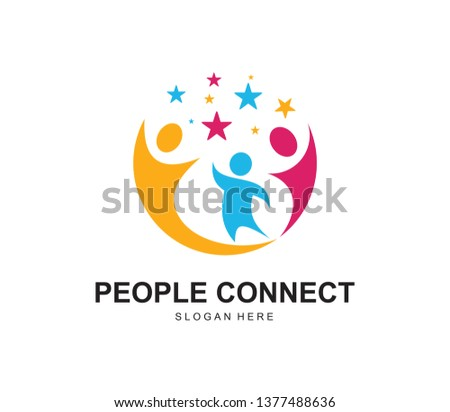 Hand team friends community logo and symbols Vector
