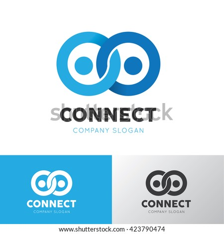 People connect logo. Connection logo idea template.