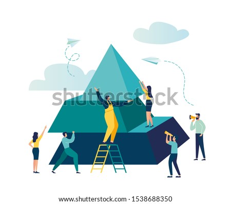 people connect the elements of the pyramid, vector illustration flat design style, symbol of teamwork, cooperation, partnership, advancement, pyramid puzzle