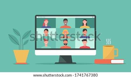 people connect together, learning or meeting online with teleconference, video conference remote working on computer laptop, work from home and anywhere, new normal concept, flat vector illustration