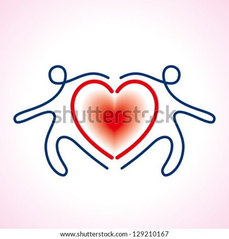 People Connected a heart Symbol