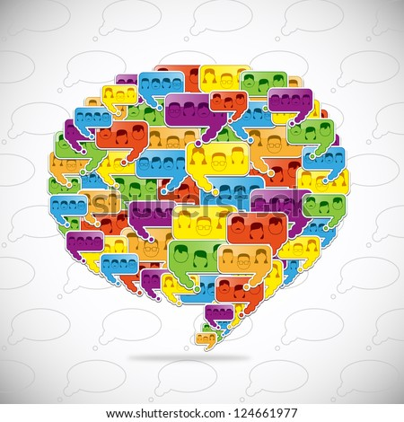 People Connected In Speech Bubbles. Social Media In Talk Bubbles. Shape Composition Background. Vector Illustration, On Gray Background, Graphic Design