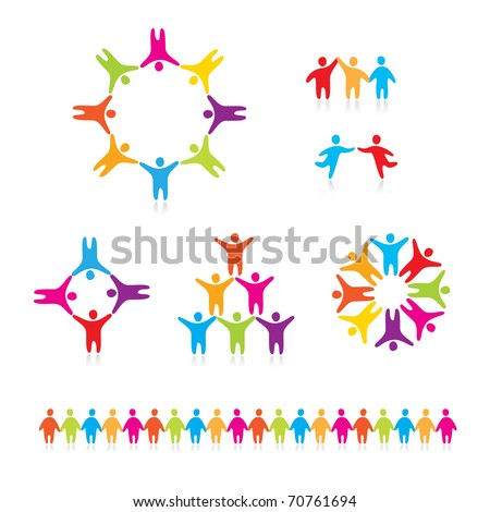 People Connected Symbols. A collection of people icons. - stock vector
