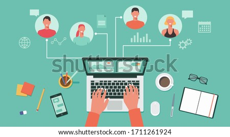 people connecting and working online together on laptop computer, remote working, work from home and work from anywhere concept, flat vector illustration