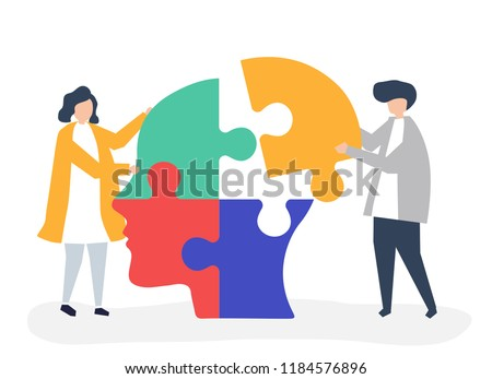People connecting jigsaw pieces of a head together