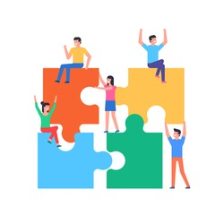 People connecting puzzle elements. Team metaphor. Business concept. Flat Style. isolated on white background