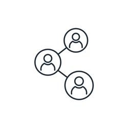 People connecting. Social Media Platform. Vector linear icon on a white background.