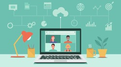 people connecting together, learning or meeting online with teleconference, video conference remote working, work from home and work from anywhere concept, flat vector illustration