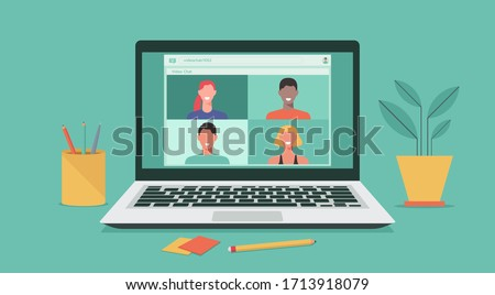 people connecting together, learning or meeting online with teleconference, video conference remote working on laptop, work from home and work from anywhere concept, flat vector illustration