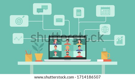 people connecting together, learning or meeting online with teleconference, video conference remote working concept, work from home and work from anywhere, flat vector illustration