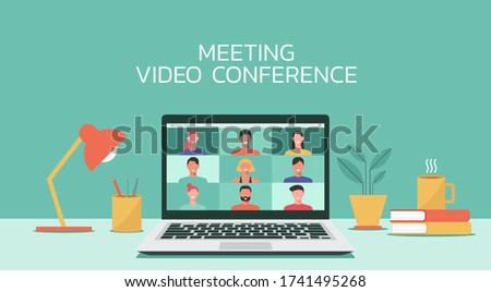 people connecting together, learning or meeting online with teleconference, video conference remote working on laptop computer, work from home, new normal concept, flat vector illustration