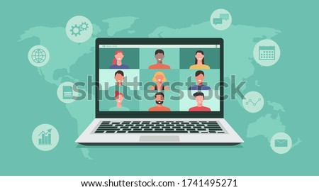 people connecting together, learning or meeting online with teleconference, video conference remote working on laptop computer, work from home or anywhere, new normal concept, flat vector illustration