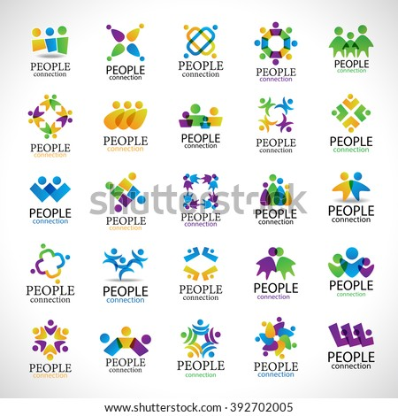 People Connection Icons Set-Isolated On Gray Background-Vector Illustration,Graphic Design Editable For Your Design.Collection Of Happy People,Unity Sign Connected.