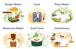 People cooking and preparing food set. Restaurant chef cooking Collection of man and woman in apron making tasty dish. Professional worker on the kitchen. Isolated vector illustration in cartoon style