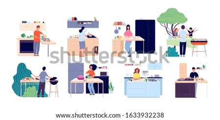 People cooking. Woman preparing salad, kitchen and outdoor eating. Men women dining, eat food and bake. Happy culinary vector illustration