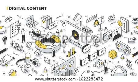 People create and promote visual and interactive digital content to engage audiences, reach new markets & provide value to customers. Content marketing technology. Isometric outline illustration