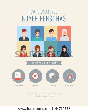 People creating buyer personas steps infographic. people collection. illustration vector flat design. Foto stock ©