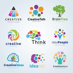 People creative idea logo set