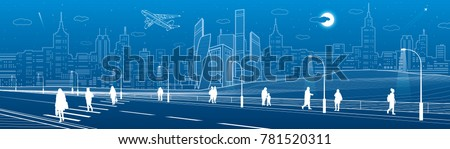 people cross highway. urban...