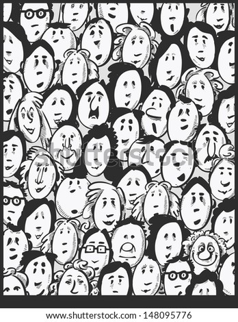 People crowd -cartoon characters