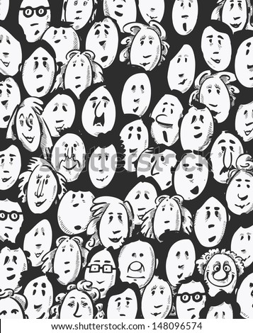 People crowd -cartoon characters - dark background