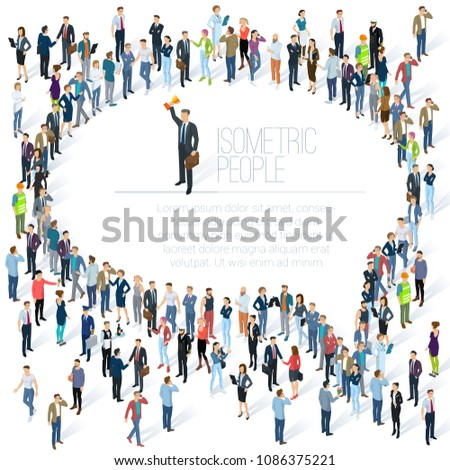 People crowd comment speech bubble frame shape icon. Isometric vector presentation, web site, banner template. Men and women, people diversity, various styles and professions. Society and opinions.