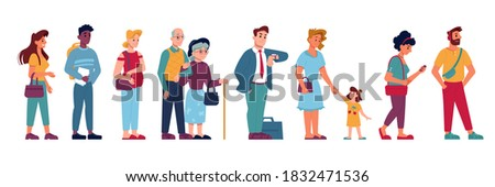 People crowd in queue line standing and waiting, vector flat isolated. People group in queue row, pregnant woman, old man with kid child, cartoon icons of people in line in hurry or impatient Сток-фото ©