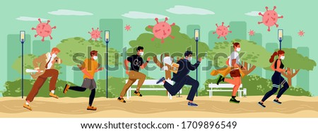 People crowd in respiratory mask fleeing influenza virus attack. Coronavirus epidemic panic. Covid19 world spreading protection. Active lifestyle in global pandemic. Health risk public park concept Stockfoto ©