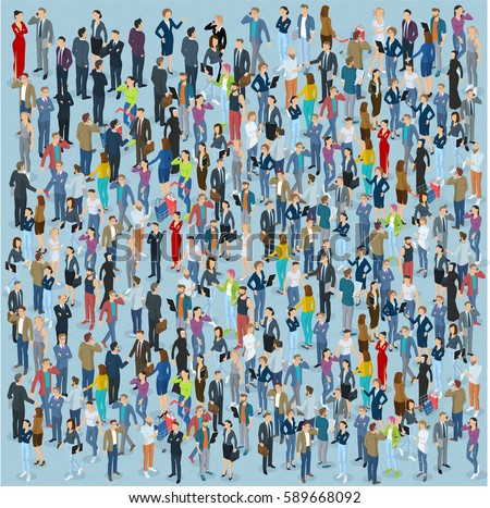 People crowd. Isometric vector background  template.