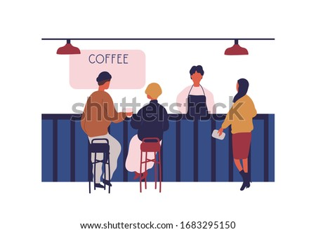 People customers sitting on bar counter at coffee shop isolated on white background. Woman buying hot beverage at cafeteria vector graphic illustration. Barista working at modern cafe
