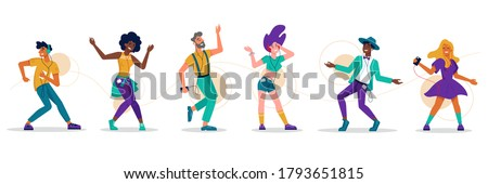 People dance, music party dancers, vector flat isolated icons. Girl woman and men dancing to music, listening player earphones and headphones connected by wire cable, dance club music people