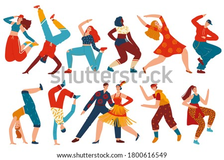People dance vector illustration set. Cartoon flat woman man dancer characters collection with teenager girls and guys dancing hip hop, breakdance, twerk at modern street music party isolated on white ストックフォト ©