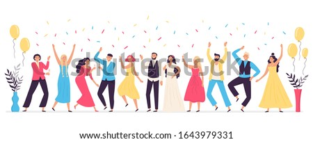 People dancing at wedding. Romance newlywed dance, traditional wedding celebration celebrating with friends and family vector illustration. Cute happy bride, groom and guests having fun at party. Stock foto ©