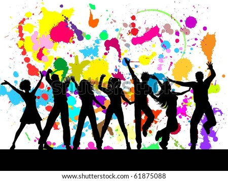 People dancing on colourful grunge background