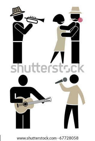 People dancing, singing and playing musical instruments. Musician playing trumpet. Man singing into a microphone. Man playing guitar. Concert and dance at a party. Set of vector icons, clip-art.