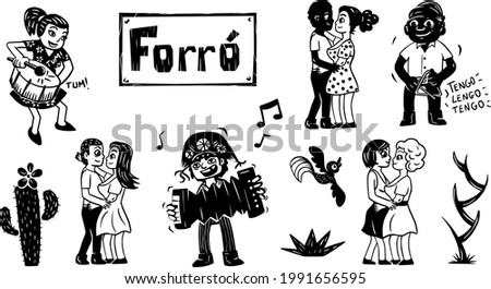People dancing to northeastern music from Brazil. Illustration in woodcut style.