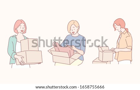 people, delivery, shipping and postal service concept - happy young women opening cardboard box or parcel. Hand drawn style vector design illustrations.