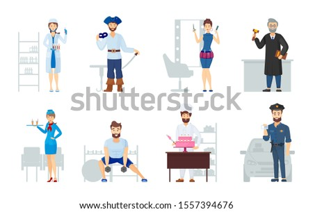 People different professions. Labor Day. Occupations laboratory assistant nurse hairdresser teacher seller chef cook fitness trainer policeman stewardess judge theater actor cartoon vector
