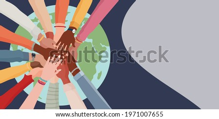 People diversity. Arms and hands on top of each other on the globe. People of diverse race culture ethnicity and country. Integration.Coexistence.Multicultural society. Banner copy space