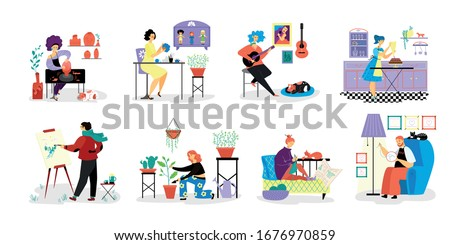 People do creative artistic hobbies on vector hand drawn hobby illustration isolated on white. Person do favorit hobbies, draw, play guitar, embroider, knit, grow plants, do pottery, sew toys, cooking