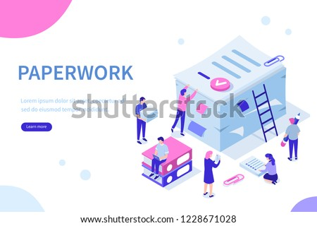 People do paperwork concept design. Can use for web banner, infographics, hero images. Flat isometric vector illustration isolated on white background. #1228671028